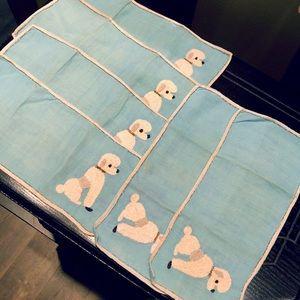 Vintage 50's Blue Poodles Napkin / Handkerchief 6